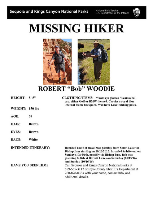 Limited continuous\' search for missing hiker - Sierra Wave: Eastern ...