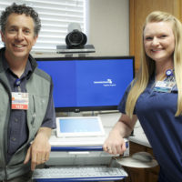 Dr. Stacey Brown and Medical Assistant Jessica Nichols show the telehealth cart. Patients will be able to connect with specialty physicians from Adventist Health using this advanced video conferencing technology. Photo by Barbara Laughon/Northern Inyo Healthcare District