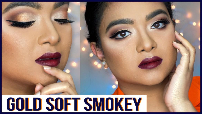 soft gold smokey eye makeup tutorial