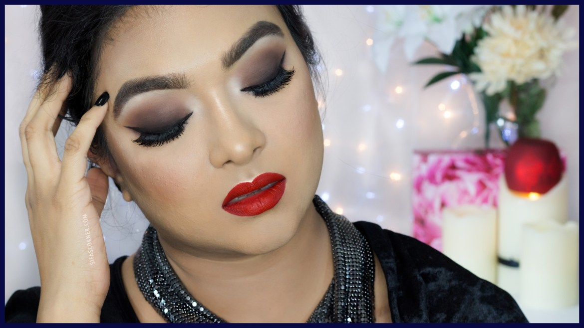 date night smokey eye with red lip makeup