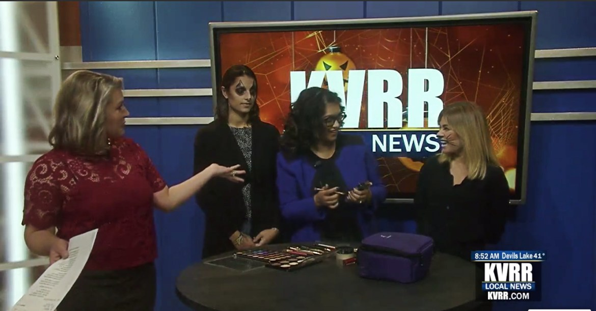 Wasifa Halloween makeup on KVRR