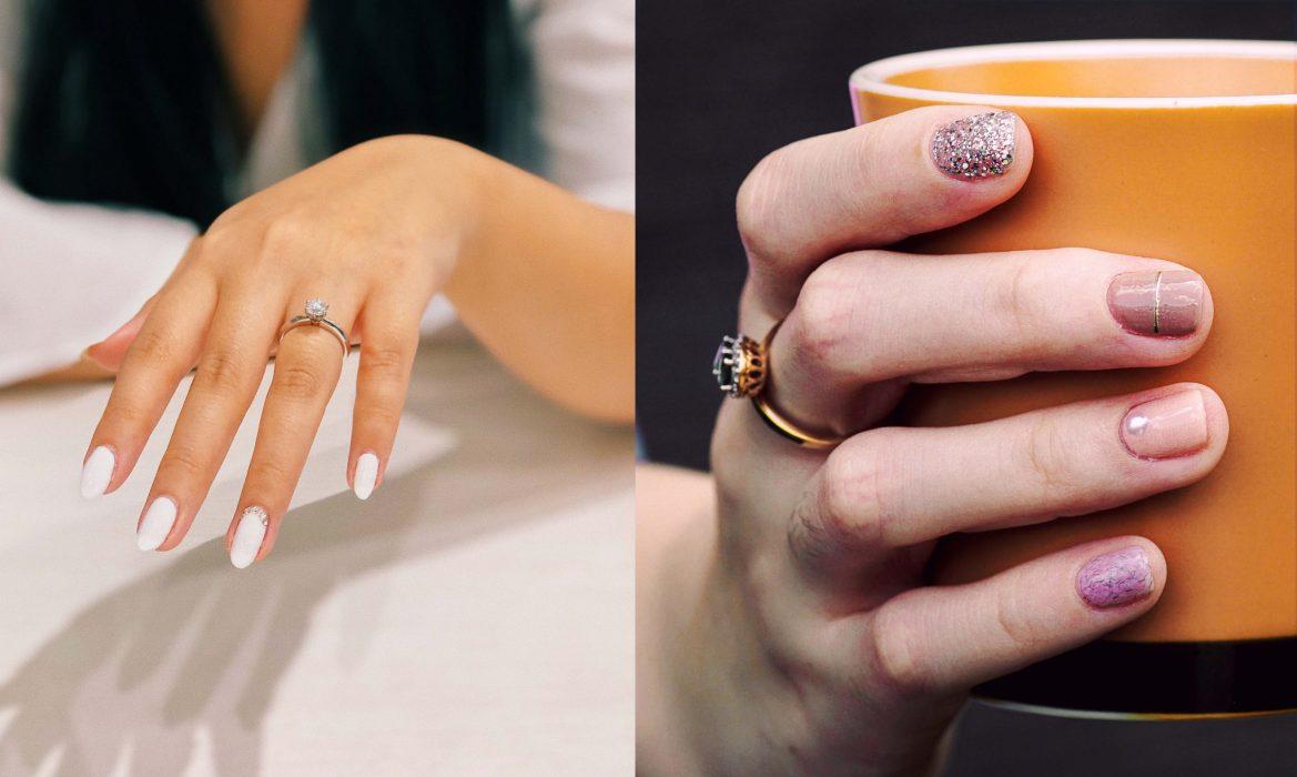 glitter stone accent manicure ideas
