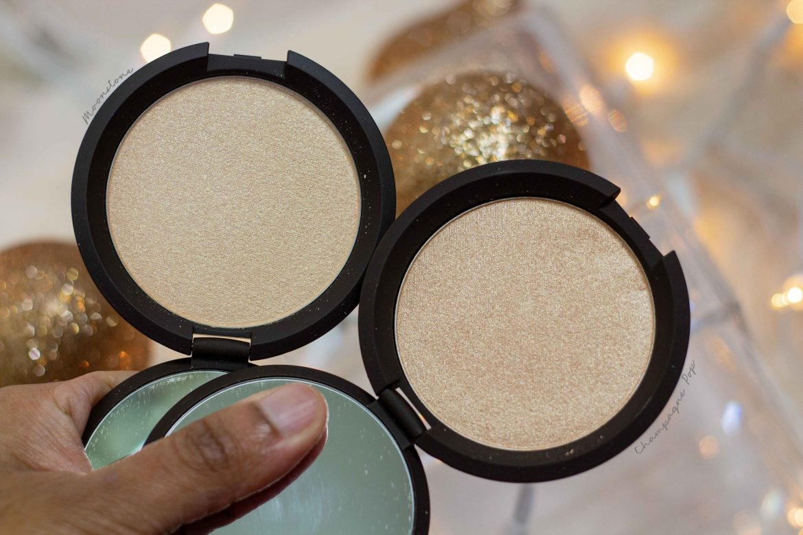 BECCA Shimmering Skin Perfector- moonstone vs champagne pop