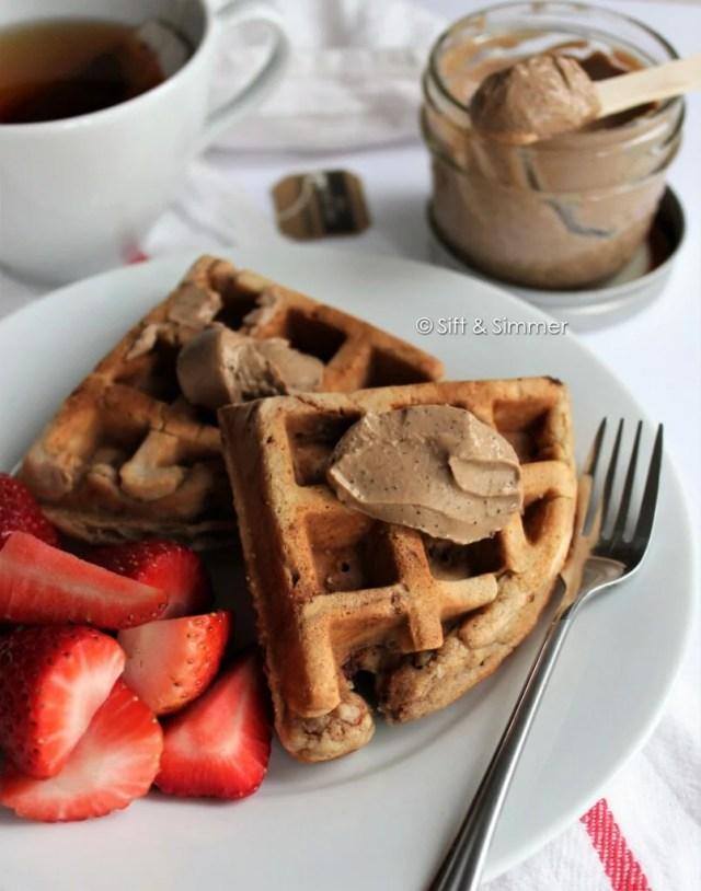 Earl Grey Milk Jam Spread Chickpea Peanut Butter Waffles