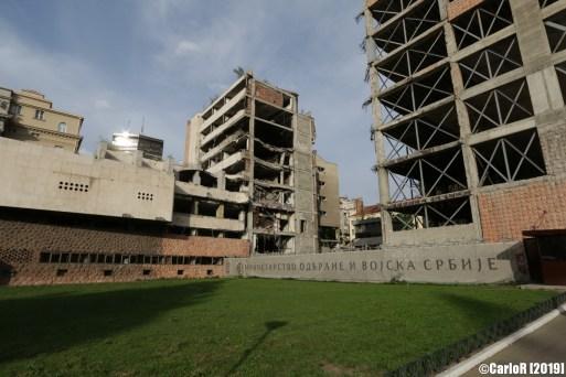 Damaged bombarded buildings central Belgrade Serbia