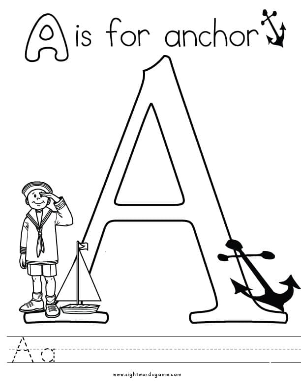 letter a coloring page 2