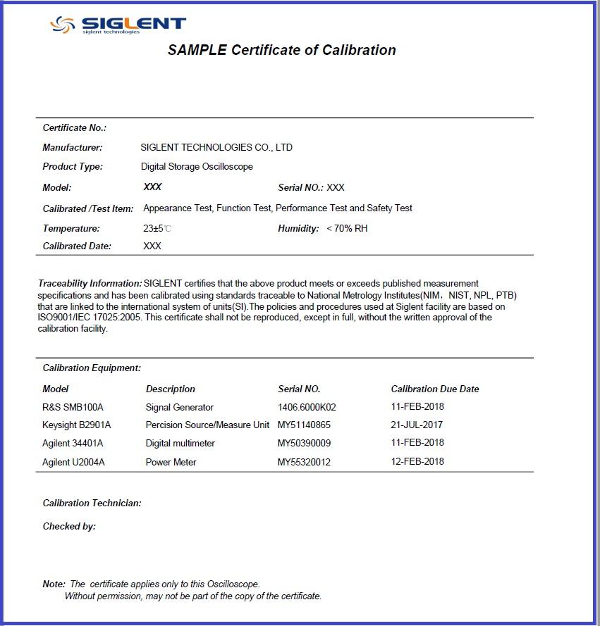 Calibration Traceability Siglent