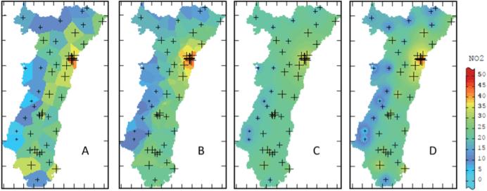 Exemple de résultats de différentes méthodes d'interpolation spatiale.