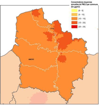 Carte des concentrations moyennes annuelles en PM2,5 pour la région des Hauts-de-France.