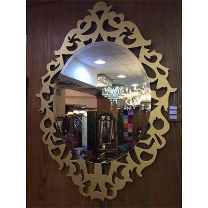 Miroir mural rond avec cadre en bois motif ange