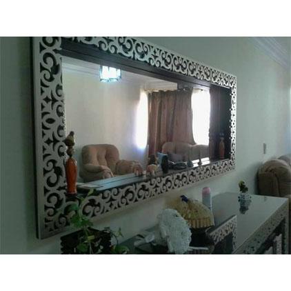 Miroir cadre bois argenté frise motif ornement