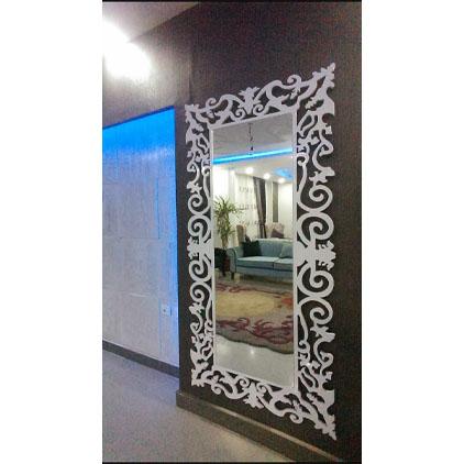 Miroir mural Cadre en bois avec motif à feuilles gravé