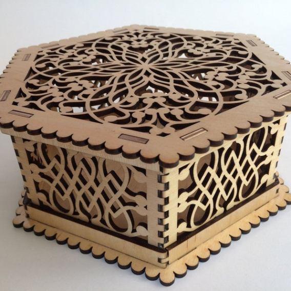Boîte décorative hexagonale