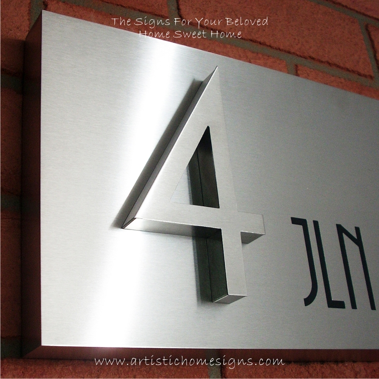 3D Numbers Etching Address Sign Plaque 4