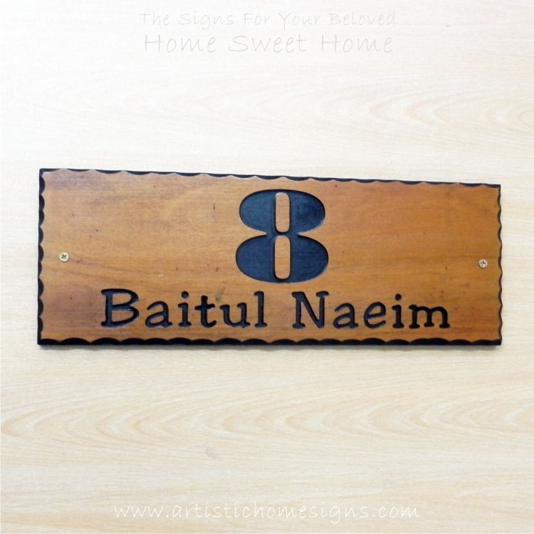 WDR-400 Rectangle Wooden House Sign Black Letters 8