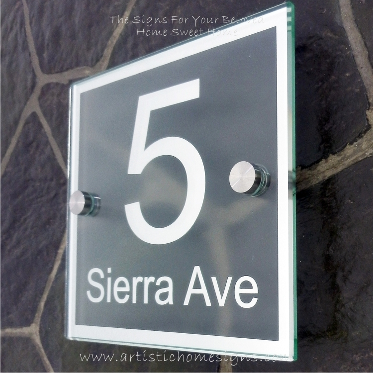 Square Chrome Mirror Border With Sandblast Frosted Finishing Sign 5