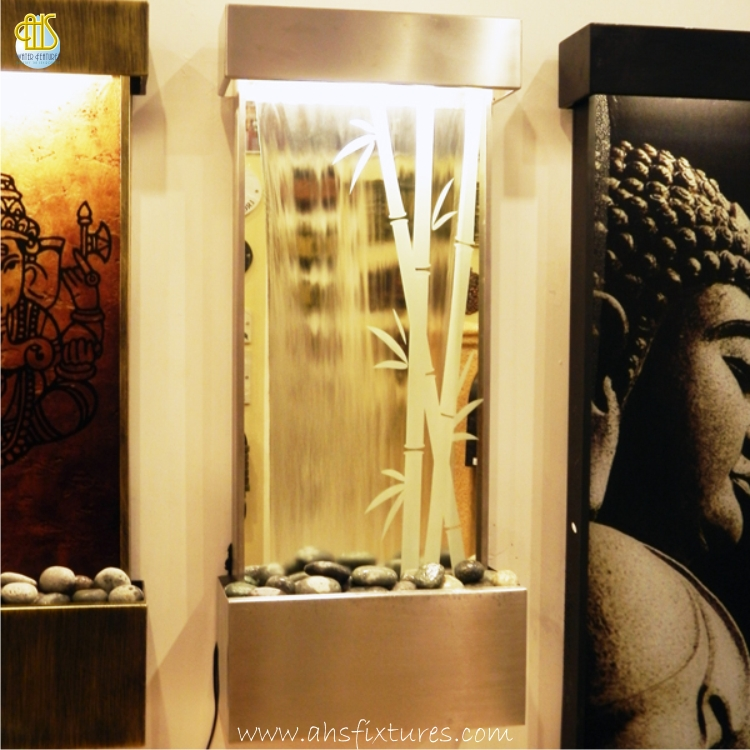 WWG-410 Bamboo Art Glass Mirror Etching Wall Fountain 03