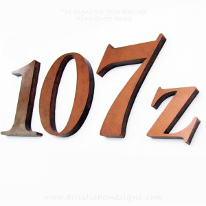 Weather Resistant House Numbers - Antique Copper 107z 01