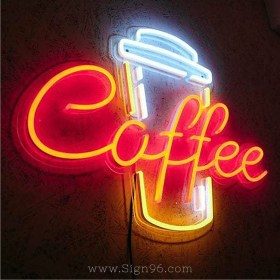 Coffee Luminous LED Neon Sign With Transparent Backplane Made In Malaysia LNS-301