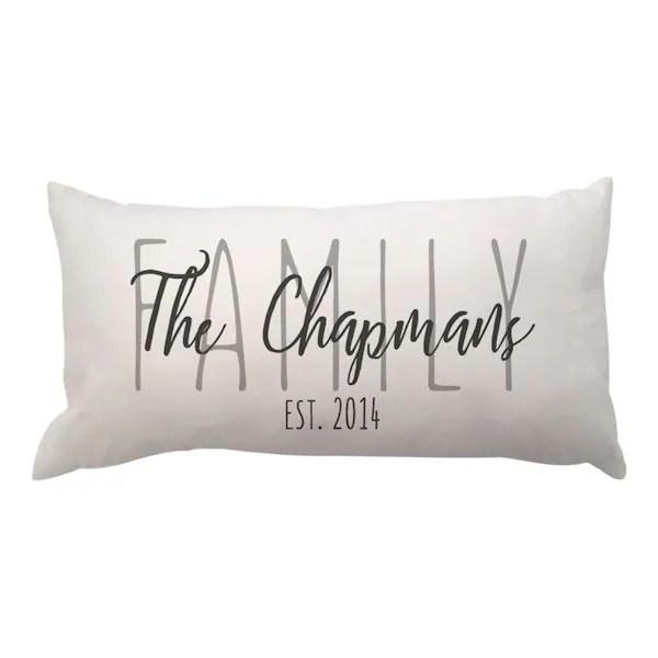 personalized family lumbar pillow