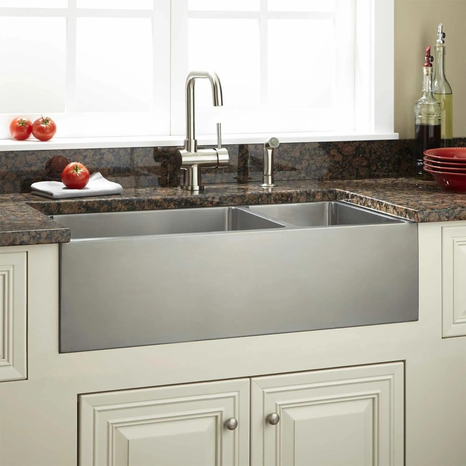 36 Optimum 7030 Offset Double Bowl Stainless Steel