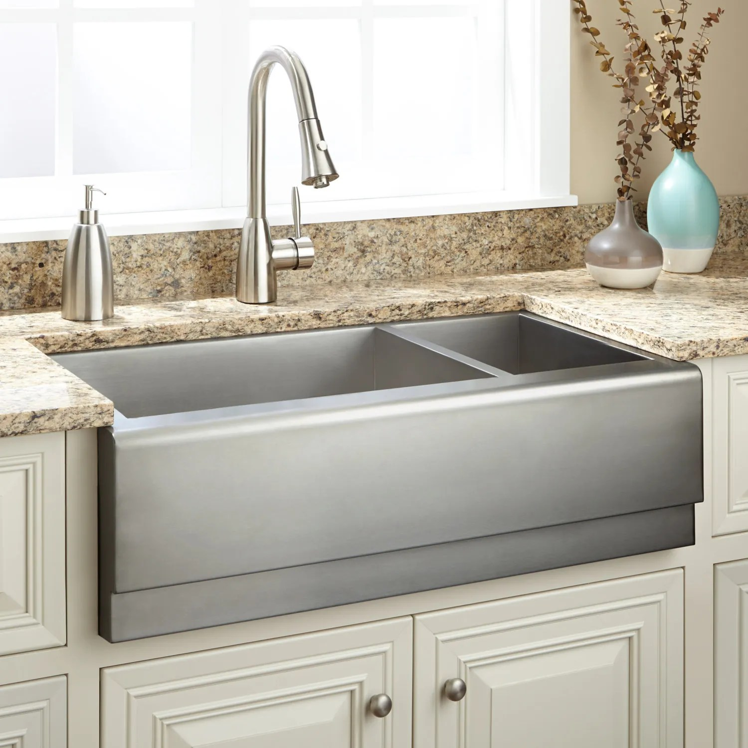 30 Offset Double Bowl Stainless Steel Farmhouse Sink Tiered