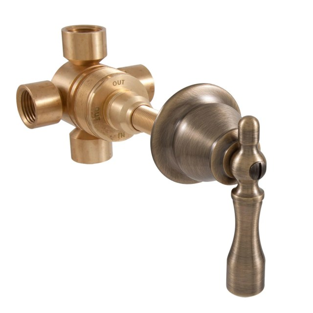 Traditional Three Way In-Wall Shower Diverter - Lever Handle - Showers