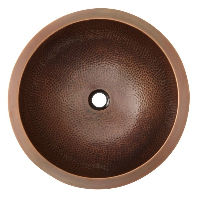 "16"" Baina Extra Deep Round Hammered Copper Sink Drop in Sinks"