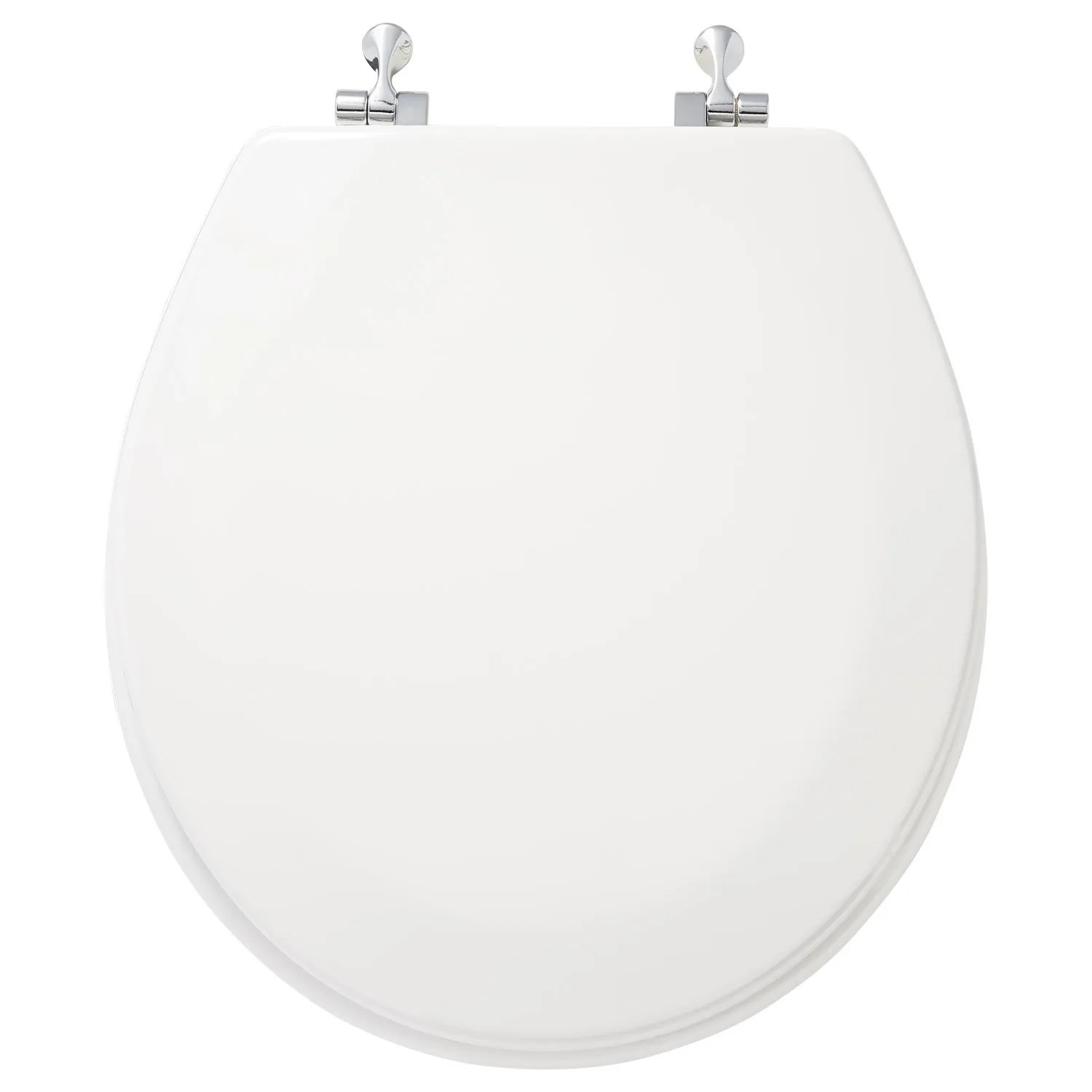 Deluxe Wood Toilet Seat With Standard Hinges White Bathroom