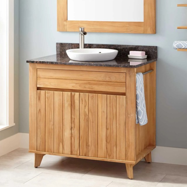 "36"" Antioch Teak Vanity for Semi Recessed Sink Natural Teak"