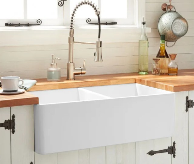 Reinhard Double Bowl Fireclay Farmhouse Sink White