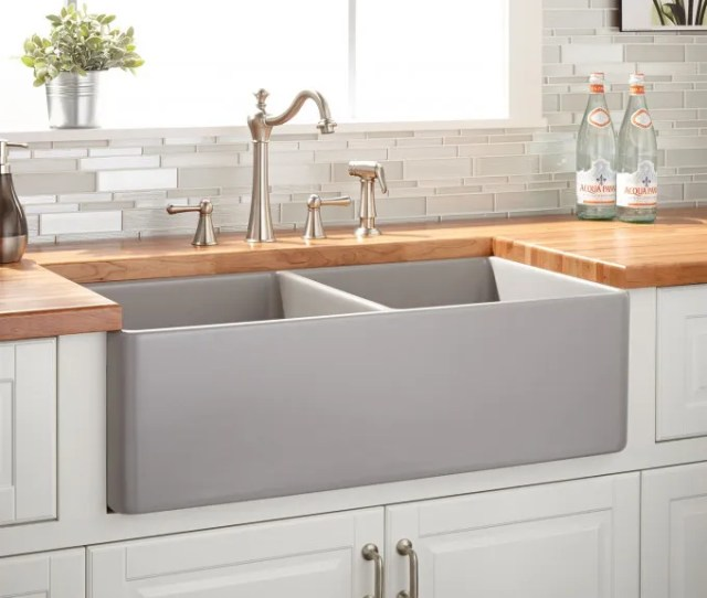 Reinhard Double Bowl Fireclay Farmhouse Sink Gray