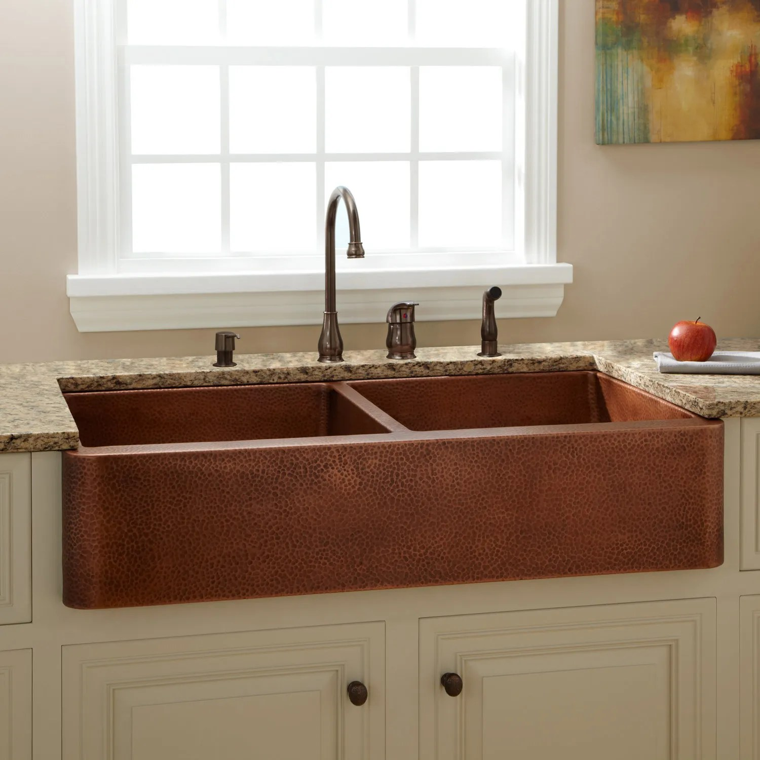42 Fiona Double Bowl Hammered Copper Farmhouse Sink Kitchen