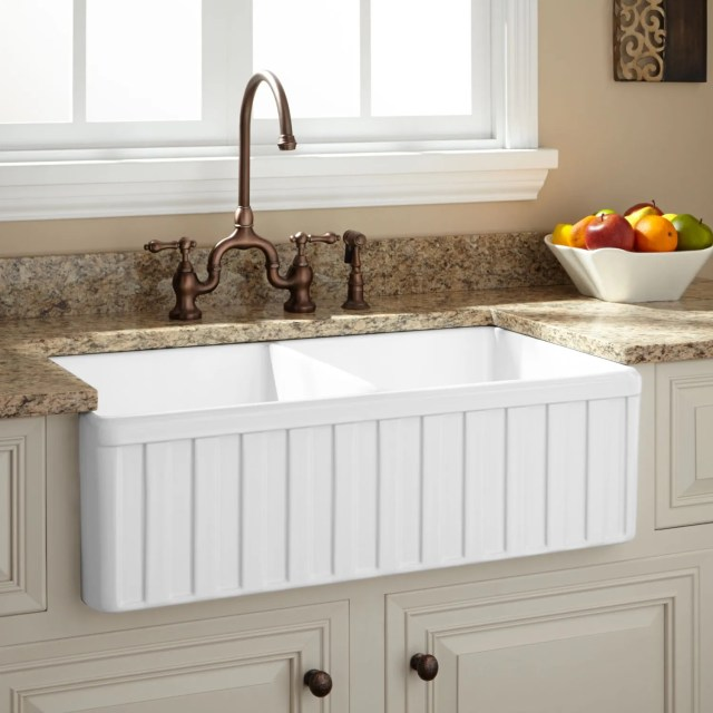 """33"""" Oldham Double Bowl Fireclay Farmhouse Sink Fluted Apron"""