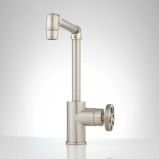 Edison Tall Single Hole Brass Bathroom Faucet with Pop Up Drain