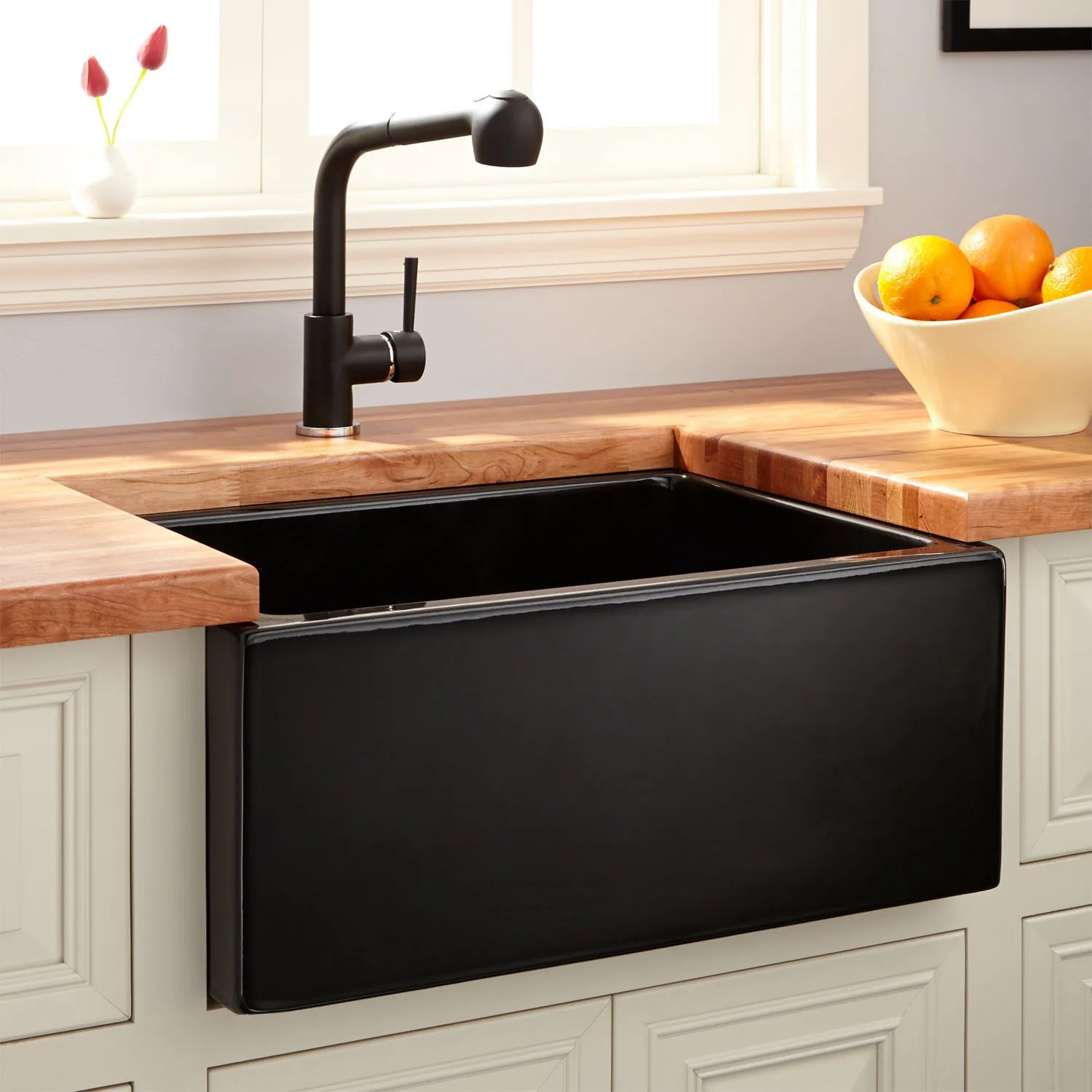 24 Adams Fireclay Reversible Farmhouse Sink Smooth