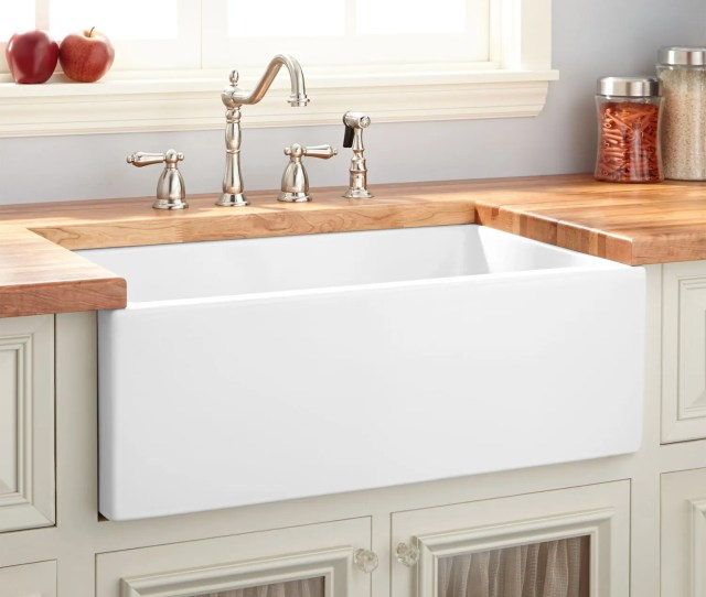 Mitzy Fireclay Lightweight Rerversible Farmhouse Sink Smooth Apron White