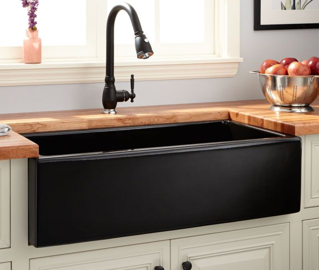 Dorhester Fireclay Lightweight Rerversible Farmhouse Sink Smooth Apron Black