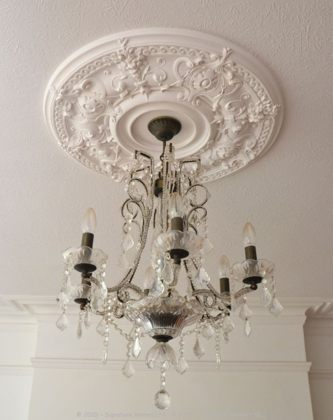 Fireplace Installation with Coving, Ceiling Rose & Chandelier 2