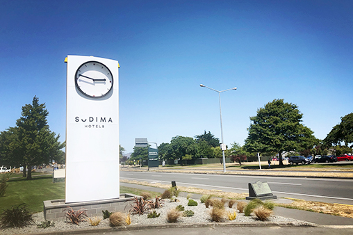 Signbiz Pylon Sign Sudima CLock
