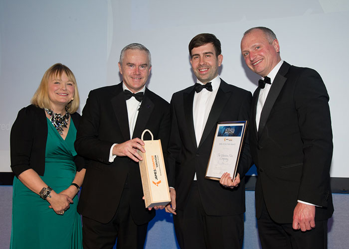 From left to right: Nadine Dereza, host for the the Thames Valley Business Magazine Awards; Huw Edwards, BBC News anchor and guest speaker; MickyCalcott, Managing Director, The Window Film Company; and Robert Holland from award sponsor James Cowper Kreston