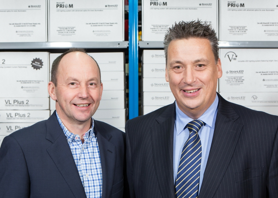 (l to r) Ian Drinkwater, Managing Director of Applelec with Barry Blythe, SloanLed's Sales Director
