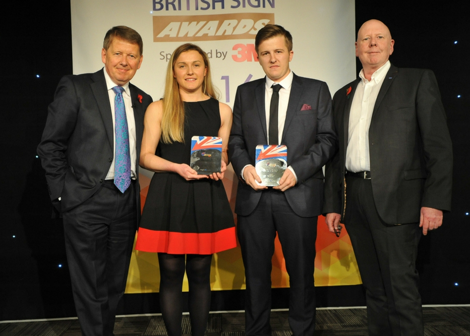 Joint Young Sign Maker winners last year - Kirsty Donald of OPG in Scotland and Damian Jacobs of Allen Signs in Lincolnshire