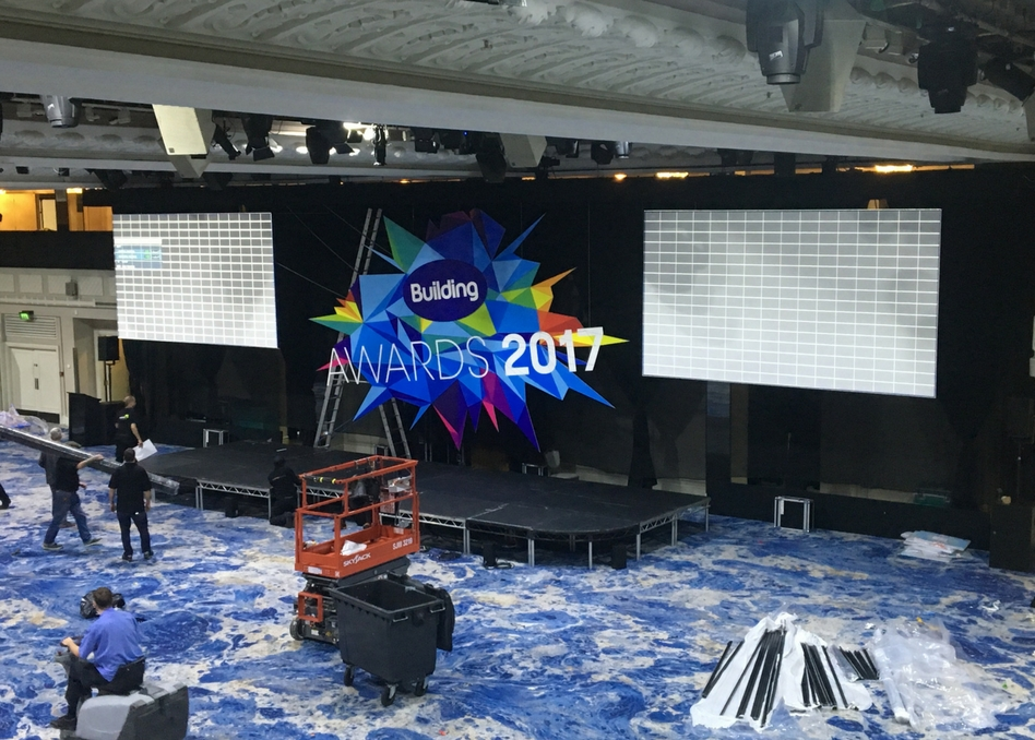 2017 Building Awards stage prep
