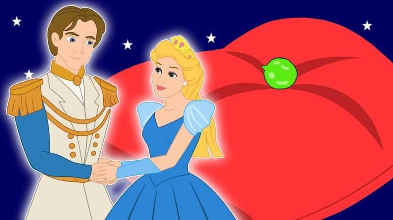 desenho do principe, da princesa e da ervilha