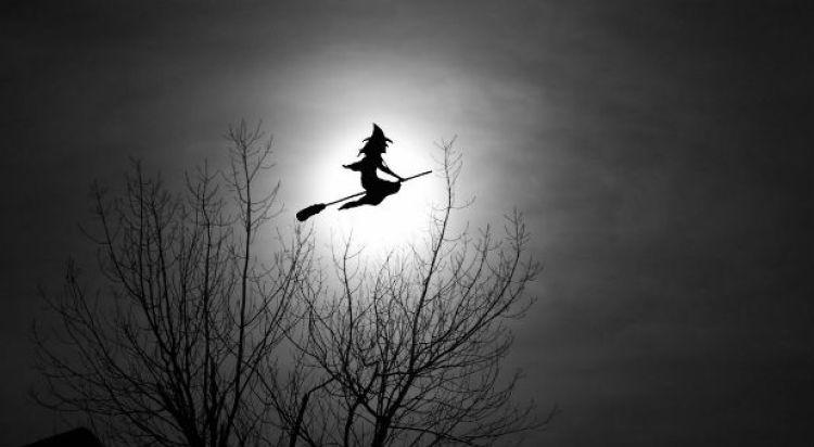 bruxa voando na sua vassoura a noite no halloween