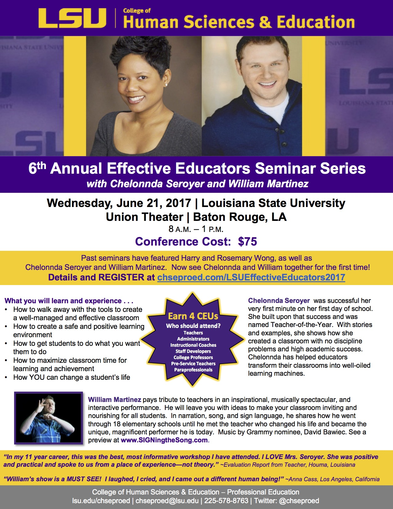 2017 LSU Effective Educators Seminar Flyer SIGNing The Song – Seminar Flyer