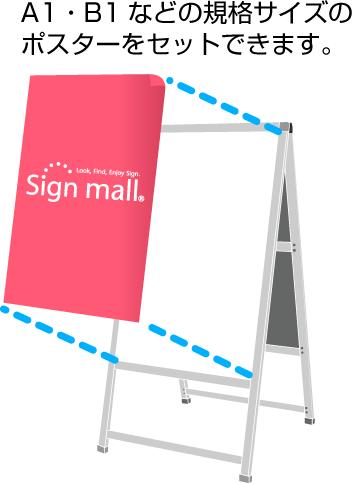 規格のポスターサイズを差し込んで使用するタイプ