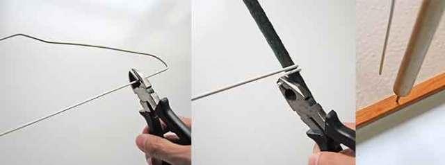 針金ハンガーで固定する