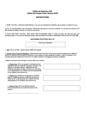 California Statutory Will Form Fill Out And Sign Printable